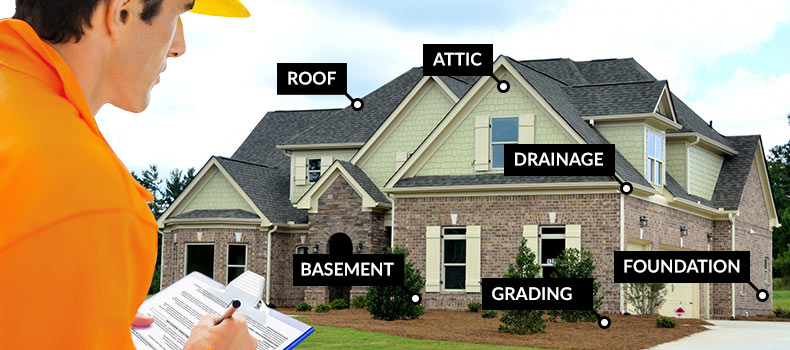 Frisco, Texas — House with labels of items included in a typical annual home maintenance inspection.